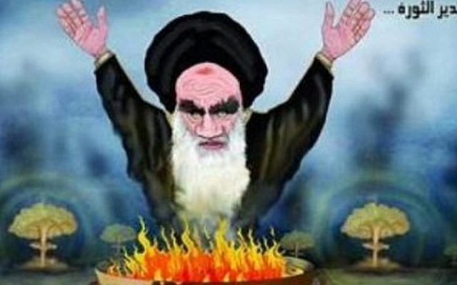 A political cartoon published in a Saudi paper, following the Lausanne framework agreement on Iran's nuclear program. (Photo credit: MEMRI)