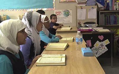 Illustrative photo of female Muslim students. (photo credit: YouTube screenshot)