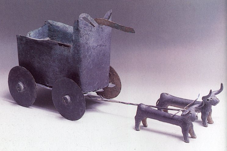 Ancient bronze model bull-driven cart (Photo credit: courtesy of the Jerusalem Bible Lands Museum)