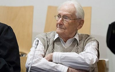 Oskar Groening at the first day of his trial in Luneberg, Germany, to face charges of being an accomplice to the murder of 300,000 at Auschwitz, April 21, 2015 (Photo credit JTA/Andreas Tamme/Getty Images)