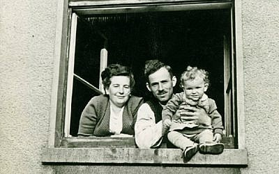 Dina Lichtman with her parents Bella Cypris and Roman Lichtman in a 1949 photo taken at the Bergen-Belsen DP camp that they used for a Jewish New Year's greeting card. (photo credit: courtesy of Dina Lichtman)