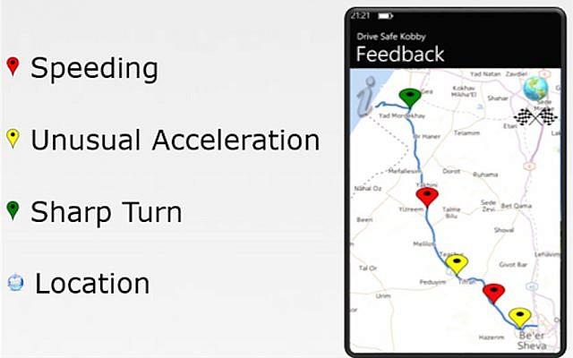 Driving monitor app screenshot (Photo credit: Courtesy)