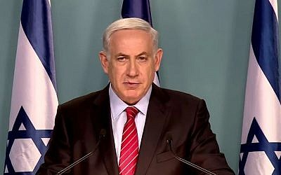 Prime Minister Benjamin Netanyahu speaking with international media about the framework agreement and Iran's nuclear program on April 12, 2015. (screen capture: Facebook/The Prime Minister of Israel)