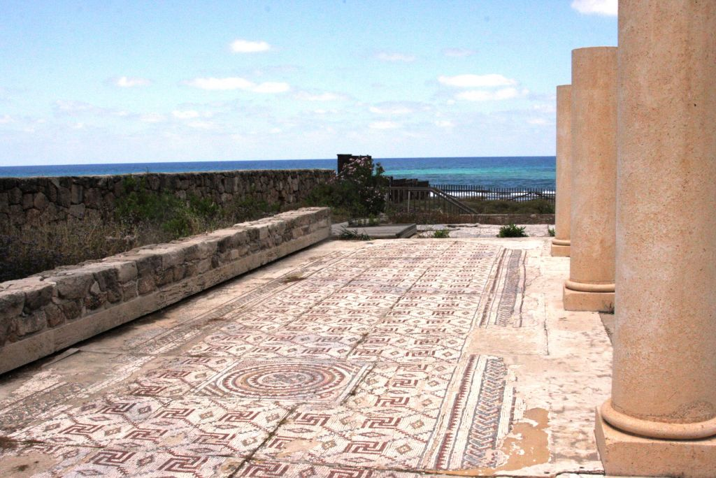 The remains of a Byzantine-era church with a large mosaic floor at Moshav Shavei Zion (photo credit: Shmuel Bar-Am)