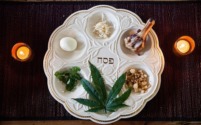 The seder plate at the Le'Or Jewish cannabis advocacy group's inaugural Cannabis Seder included a marijuana leaf. (photo credit: Alain Sylvestre Media)