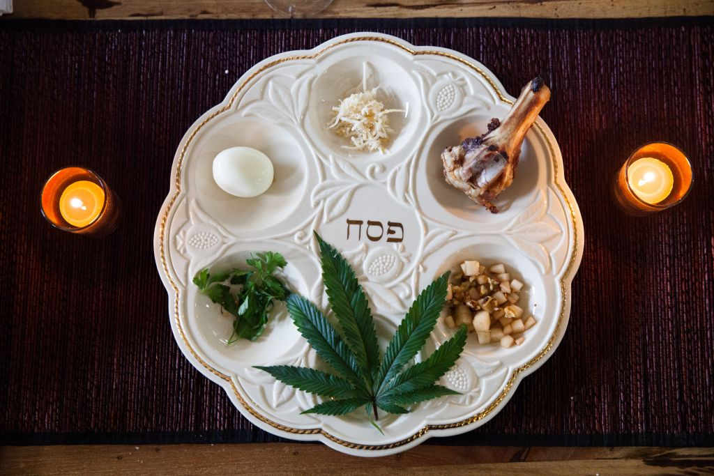 The seder plate at Le'Or's inaugural Cannabis Seder included a marijuana leaf. (photo credit: Alain Sylvestre Media)