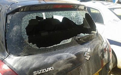 Car of Givati commander attacked in Mea She'arim on April 24, 2015. (Screenshot/Channel 2)