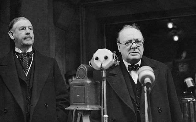 Winston Churchill speaking in January 1939 (photo credit: AP Photo/ Staff/ Putnam)