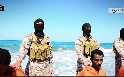 Islamic State fighters in Libya, April 19 2015 (screen capture: Dailymotion)