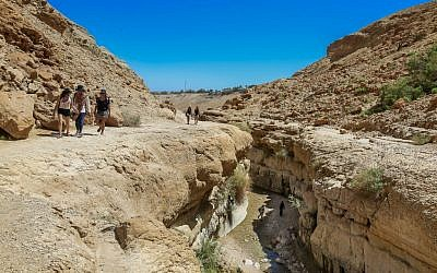 Israelis hike in the Nahal Arugot valley near Ein Gedi region during the Passover holiday, April 5, 2015. (Photo credit: Edi Israel/FLASH90)