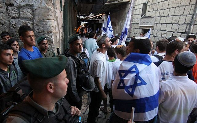Israeli border police guard Jerusalem Day marchers as they walk through the Muslim Quarter of the Old City, June 1, 2011 (photo credit: Nati Shohat/Flash90)