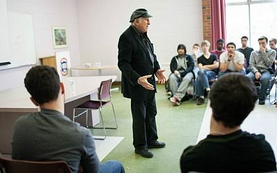 Holocaust survivor Nate Leipciger speaking to a class of students participating in the Facing History and Ourselves curriculum. (Courtesy of Facing History and Ourselves/JTA)