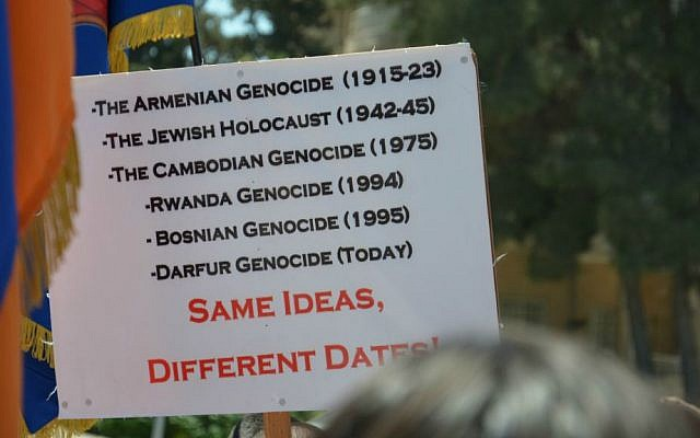 A sign held by Israeli activists calling for the government's recognition of the Armenian genocide, April 24, 2012 (photo credit: courtesy Combat Genocide Association)