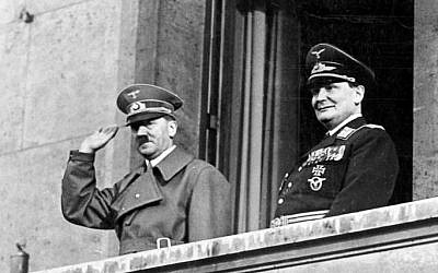 Adolf Hitler and Hermann Goering on March 16, 1938 (photo credit: CC BY-SA/Bundesarchiv, Bild 183-2004-1202-504/Wikimedia)