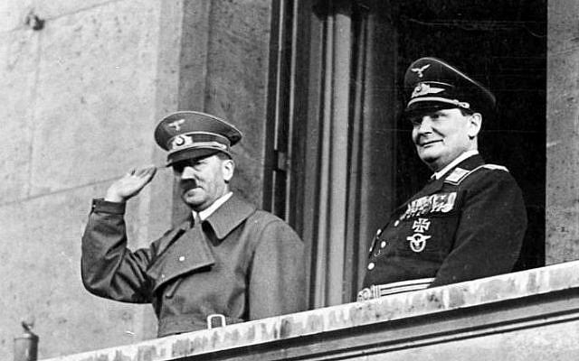 Adolf Hitler and Hermann Goering on March 16, 1938 (photo credit: CC BY-SA/Bundesarchiv, Bild 183-2004-1202-504/Wikimedia)