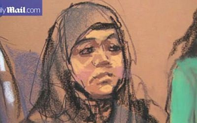 A courtroom artist's sketching of Keonna Thomas, a 30-year-old woman from Philadelphia accused of conspiring to join a jihadist group in Syria. (screen capture: YouTube/The Daily Mail)
