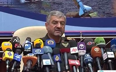 Commander of the Iranian Revolutionary Guards General Mohammad Ali Jafari. (screen capture: YouTube/Press TV)