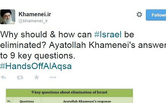 Ayatollah Ali Khamenei posts a nine-point plan for the annihilation of Israel on Twitter (screen capture: Twitter)