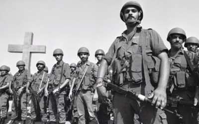 Christian Lebanese Forces fighters standing in formation during the Lebanese Civil War. (screen capture: YouTube)