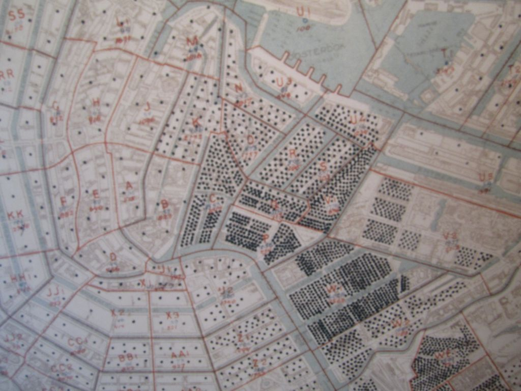 A map of Amsterdam prepared by the city's Nazi administrators following the occupation of the Netherlands. Each black dot represents a concentration of Jews. The proposed site for the Memorial of Names Holocaust structure is Wertheim Park, located in the middle of what was the city's highest concentration of Jews (photo credit: Matt Lebovic)