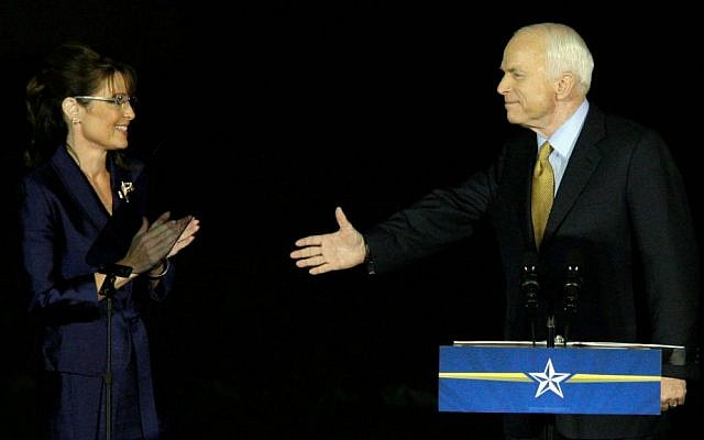 A November 4, 2008 photo of then presidential and vice presidential candidates John McCain and Sarah Palin in Phoenix, Arizona (AP Photo/ Matt York)