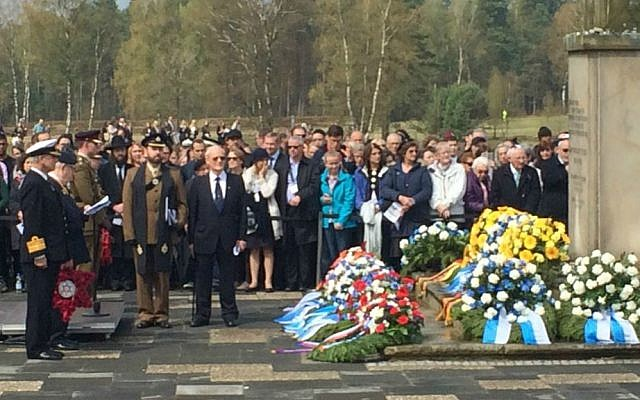 Participants at a memorial ceremony at the site of the Bergen-Belsen concentration camp, April 26, 2015. (Photo credit: Renee Ghert-Zand)