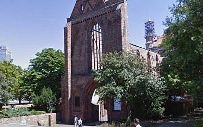 The Franciscan monastery on Gruner Street, Berlin, where the body of a man believed to be an Israeli was found, April 2015. (screen capture: Google maps)