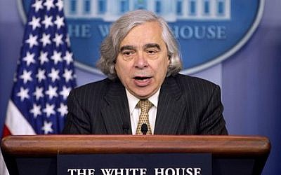 Energy Secretary Ernest Moniz speaks to the media during the daily briefing in the Brady Press Briefing Room of the White House in Washington, Monday, April 6, 2015 (photo credit: AP/Pablo Martinez Monsivais)