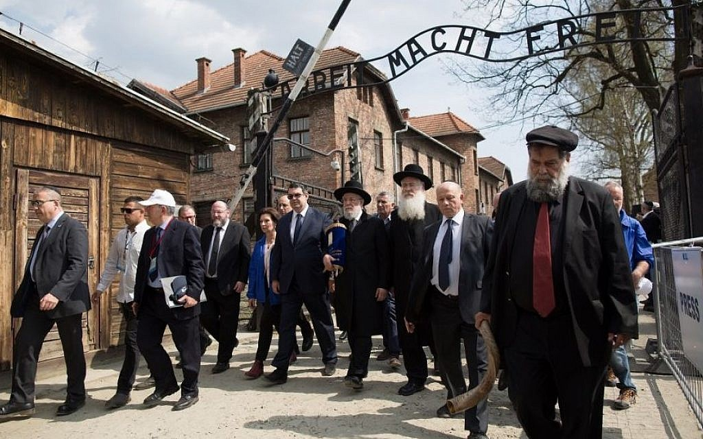 The start of the 2015 March of the Living with Chief Rabbi of Tel Aviv Yisroel Meir Lau, center, who was liberated from Auschwitz aged eight in January 1945. (Photo credit: Sam Churchill Photography)