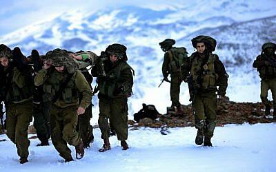 Illustrative photo of Nahal Brigade soldiers in training (photo credit: IDF Spokesperson/Flash90)