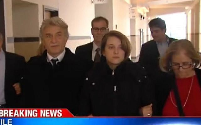 Screenshot from report on the second-degree murder conviction of Dr. Robert Neulander (left) for the alleged killing of his wife, Leslie, April 2, 2015. (screen capture: WSYR-TV)