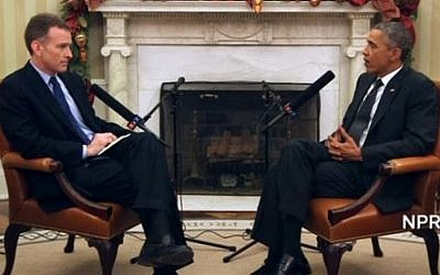 President Barack Obama (right) speaks to NPR's Steve Inskeep, April 6, 2015. (screen capture: NPR)