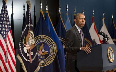 President Barack Obama pauses while speaking at the Office of the Director of National Intelligence's (ODNI) 10th anniversary at ODNI headquarters in McLean, Va., Friday, April 24, 2015 (photo credit: AP/Pablo Martinez Monsivais)