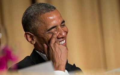 President Barack Obama laughs at a joke during the White House Correspondents' Association dinner at the Washington Hilton on Saturday, April 25, 2015, in Washington (photo credit: AP/Evan Vucci)