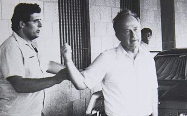 An undated photo of Oved Natan (L) with former prime minister Yitzhak Rabin (photo credit: GPO archives)
