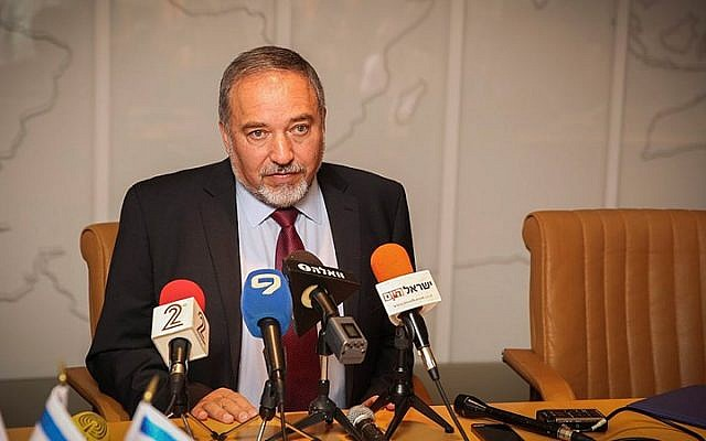 Foreign Minister Avigdor Liberman speaks during a press conference at the Foreign Ministry's Situation room to discuss the rescue efforts sent to Nepal, April 30, 2015. (Photo credit: Hadas Parush/Flash90)