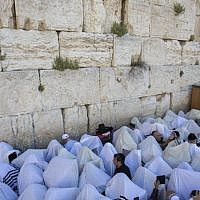 The annual priestly blessing at the Western Wall, Monday April 6, 2015. (Photo credit: Yonatan Sindel/Flash90)