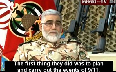 Brigadier General Ahmad Reza Pourdastan, commander of Iran's ground forces, accuses the US of having masterminded the 9/11 terror attacks. He made the accusation during an interview on Iran's state-owned Al-Alam television channel, April 19, 2015 (Photo credit: YouTube screen capture)