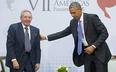 US President Barack Obama with Cuban President Raul Castro during their meeting at the Summit of the Americas in Panama City, Panama, Saturday, April 11, 2015 (AP/Pablo Martinez Monsivais)