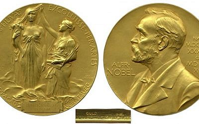 A Nobel prize for chemistry, awarded in 1927 to German scientist Heinrich Otto Wieland, that was put up for auction in April 2015. (photo credit: Nate D. Sanders)