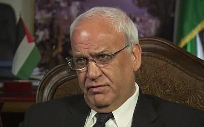 Top Palestinian negotiator Saeb Erekat (YouTube screen capture)