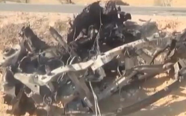 Illustrative: Wreckage from an Egyptian military vehicle destroyed in a jihadist assault on security forces in the Sinai Peninsula on April 3, 2015. (screen capture: YouTube)
