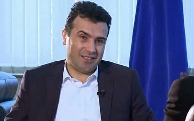 Zoran Zaev, head of the Social-Democratic Alliance for Macedonia (screen capture: YouTube/ Al Jazeera Balkans channel)