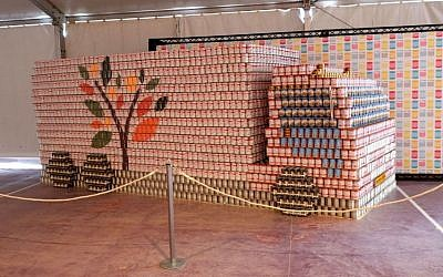 Leket Israel's Canstruction of one of their food rescue trucks, currently on display through the weekend (Courtesy Leket Israel)