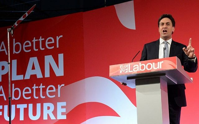 Leader of the opposition Labour Party, Ed Miliband makes a speech at an 'eve of poll' campaign rally in Leeds, northern England on May 6, 2015. (photo credit: AFP / OLI SCARFF)