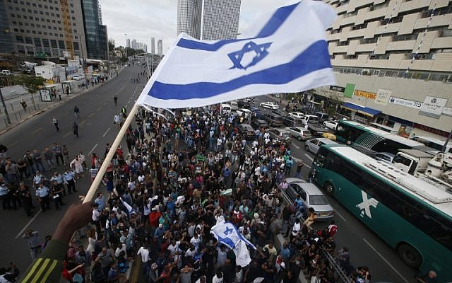 Israelis take part in a demonstration in Tel Aviv on May 3, 2015 against alleged police brutality and institutionalized discrimination against the Ethiopian Jewish community. (AFP/Jack Guez)
