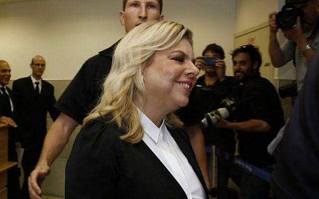 Sara Netanyahu, wife of Prime Minister Benjamin Netanyahu, attends a court hearing in Jerusalem, on May 10, 2015 (AFP/Gali Tibbon)