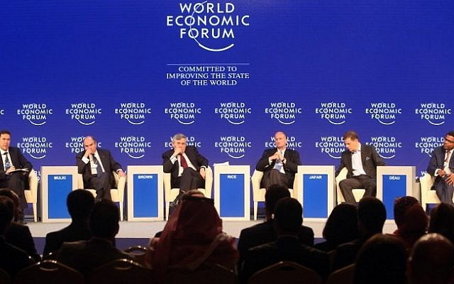 From (L-R) Chief Business Officer Murat Sonmez, Chief Commissioner of Aqaba Special Economic Zone Authority Hani Mulki, former British prime minister Gordon Brown, Vice-Chairman of GE John Rice, Chief Executive Officer of Crescent Petroleum Majid Jafar, and Chief Executive Officer of Meridiam Infrastructure Thierry Deau attend a panel discussion at the World Economic Forum (WEF) on the Middle East and North Africa 2015 on May 23, 2015 in the Dead Sea resort of Shuneh, west of the Jordanian capital, Amman (AFP/Khalil Mazraawi)