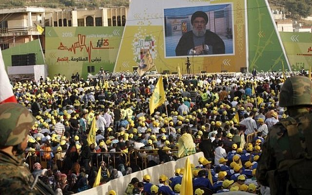 Lebanese supporters of Hezbollah gather in the southern town of Nabatiyeh on May 24, 2015 (Mahmoud Zayyat/AFP)