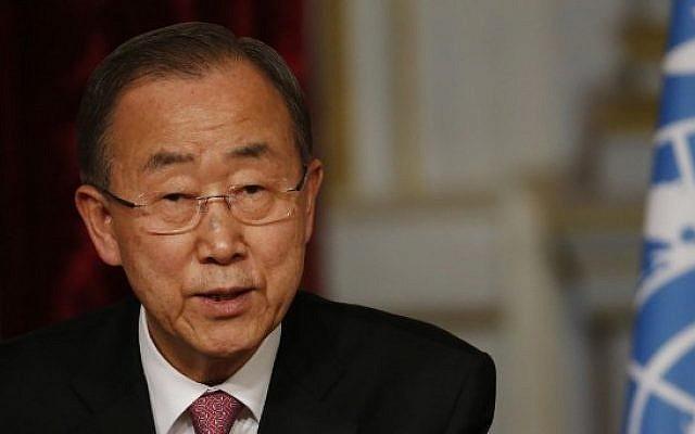 UN Secretary General Ban Ki-moon speaks at a press conference at the Elysee presidential palace in Paris, on April 29, 2015 (AFP/Thomas Samson)